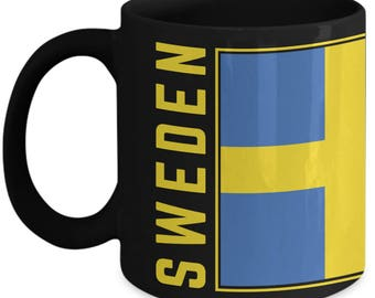Sweden Flag | Swedish Flag | Coffee Tea Mug | Swedish Pride | Black | Ceramic