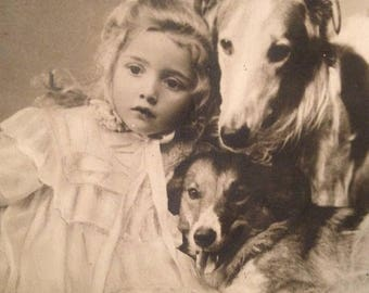 ON SALE Antique Early 1900's RPPC Real Photo Postcard Cute Little Girl With Two Dogs Old Vintage