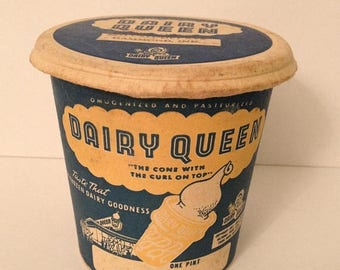 ON SALE Vintage 1950's Paper Dairy Queen Pint Cup Container with Lid Hammond Indiana Early Old