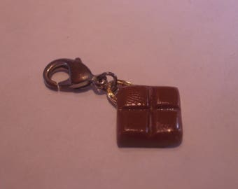 FANCY chocolate brown Fimo polymer clay charm