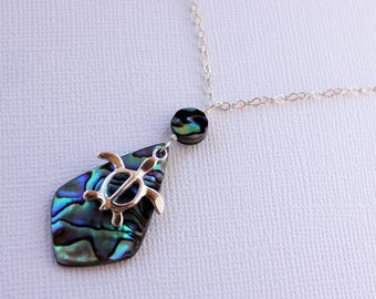 Abalone Shell Necklace, Honu Necklace, Hawaiian Shell Necklace, Paua Necklace, Honu Charm, Abalone Pendant Necklace, Gifts for Her, Abalone
