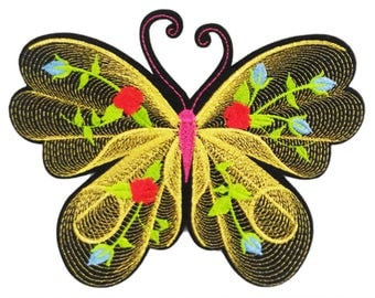 XXL Extra Large 19cm Beautiful Line-Work Butterfly Patch Badge Applique