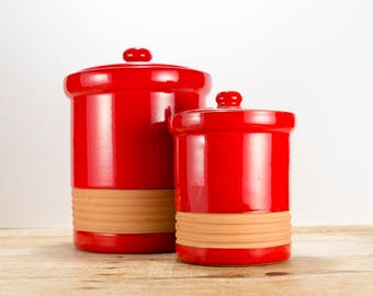 Pair of Bright Cherry Red Kitchen Canisters