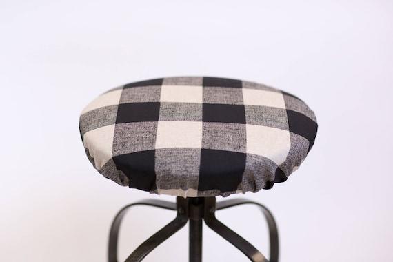 Round Barstool Cover With Cushioned Foam Elasticized Buffalo