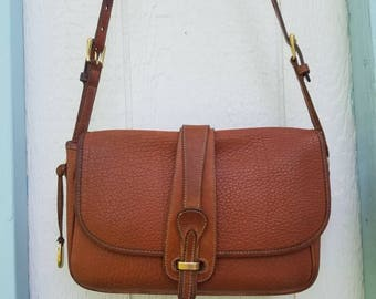 Dooney And Bourke All Weather Leather Tan Crossbody Bag Minimalist 80s Shoulder Purse