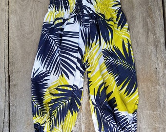 Yellow Navy Tropical Boho Pants. Summer Pants