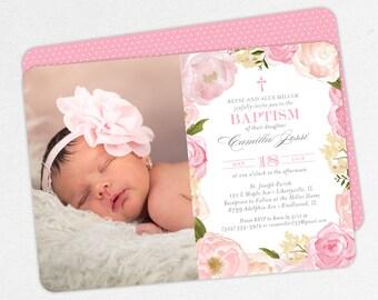 Photo Baptism Invitation, Christening Invitation, Girl Baptism Invitation, Printable Baptism, Watercolor Flowers, Floral, PDF, Pink, Camilla