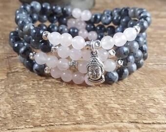 108 Mala Bead Necklace, Mala Necklace, Mala Beads, Mala Bead Bracelet, Meditation Beads, Wrap Bracelet, Yoga Bracelet