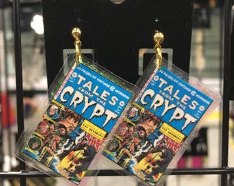Tales from the Crypt Vintage Upcycled Comic Post Earrings