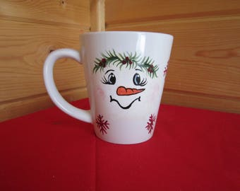 FREE SHIPPING!! Hand Painted Snowman Coffee Cup.Nana's Sippy Cup.Personalized,Christmas Gift,Snowman Collector,Only ships to the lower 48