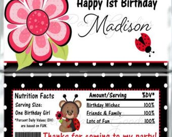 Set of 12 - Ladybug Themed Birthday Candy Bar Wrappers - Personalized Birthday Party Favors - Chocolate Bar Favors