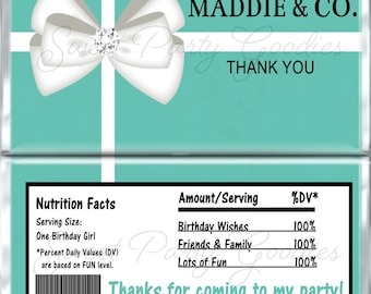 Set of 12 -  Tiffany Themed Birthday Candy Bar Wrappers - Personalized Birthday Party Favors - Chocolate Bar Favors