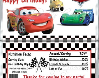 CARS Birthday Chocolate Bar Wrappers - CARS Party Candy Bar Wrap - Custom Wrappers - Candy Wrappers Party Favors