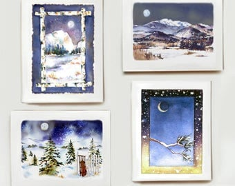 Winter Moon Note Card Assortment  - Set of 8 watercolors - Two of each design