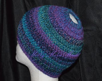 Messy Bun Hat. Pony tail hat. Crochet.  READY to SHIP.  Handmade in the USA.