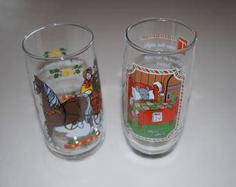 """Choose One: Christmas Pepsi Drinking Glasses Jingle Bells or Mouse 6.25"""" Tall Tumblers Glassware 1982 1983"""