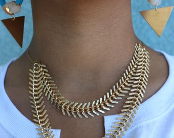 New Direction: Gold-Plated, Chain and Memory Wire Necklace