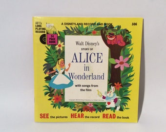 Vintage 1960s Disneyland Records Book and Record Alice in Wonderland