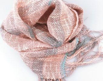 Handwoven Scarf cotton linen slab yarn