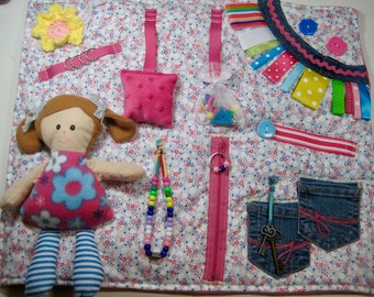 Doll on Floral of pink and blue Fidget, Sensory, Activity Quilt Blanket