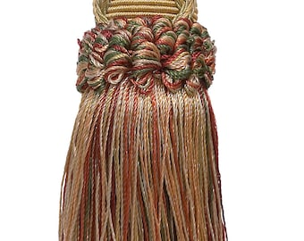 Decorative 5.5 Inch Key Tassel, Wine, Gold, Green Imperial II Collection Style# Ktic Color Cherry Grove - 4770