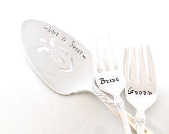 wedding cake plate and forks personalized wedding cake forks handstamped mr and mrs forks 23498