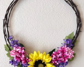 Sunflower with Pink and Purple Barbwire Wreath