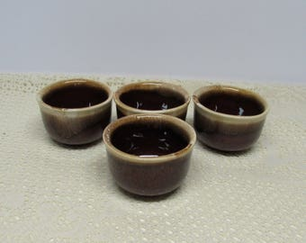 McCoy Brown Drip Bowls ~ Custard Bowls ~ Set of 4 ~ Brown Drip Glaze ~ Condiment Bowls ~ Farmhouse Kitchen ~ Custard Cup
