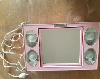 Vintage Vanity Mirror; Mirror Go Lightly; Lighted Mirror with Magnification and Normal Sides