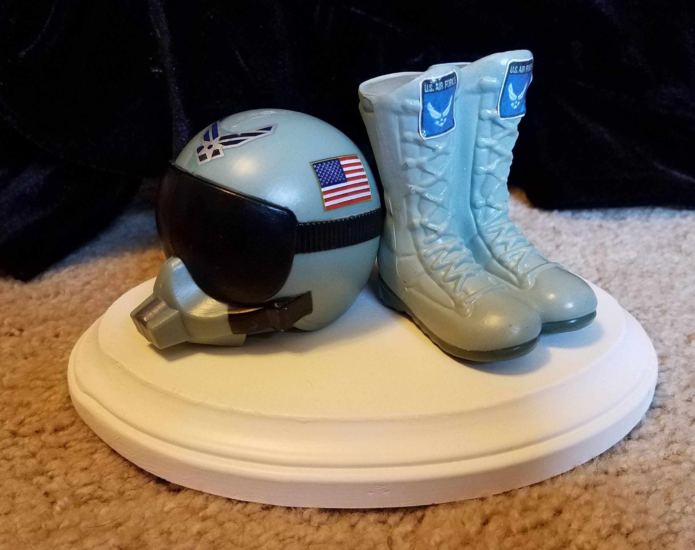 Military Air Force Wedding Cake Topper With Flight Helmet And