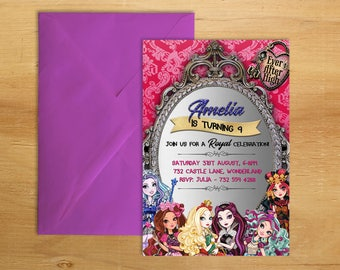 EVER AFTER HIGH Birthday Invitation Digital Printable 5x7 Party Girls Boys Glitter Invite Deluxe Personalized Diy Custom