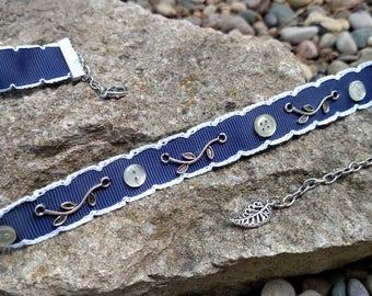 Necklace - Navy Ribbon