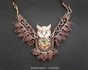 Owl \ copper owl with peridot \ pendant \ copper pendant \ gift for woman \ bird \