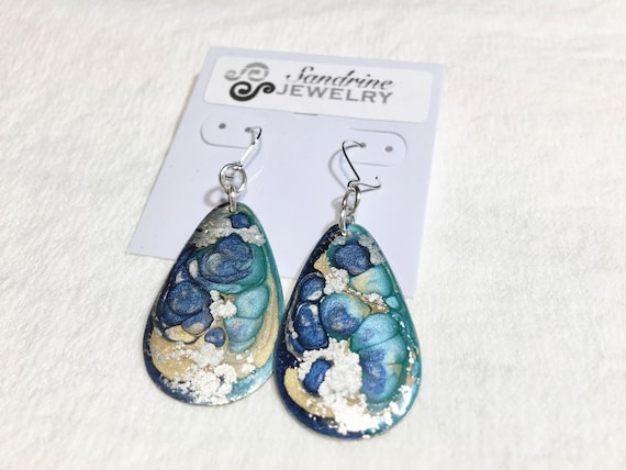 Handmade drop blue turquoise silver enamel silver plated earrings with abstract designs