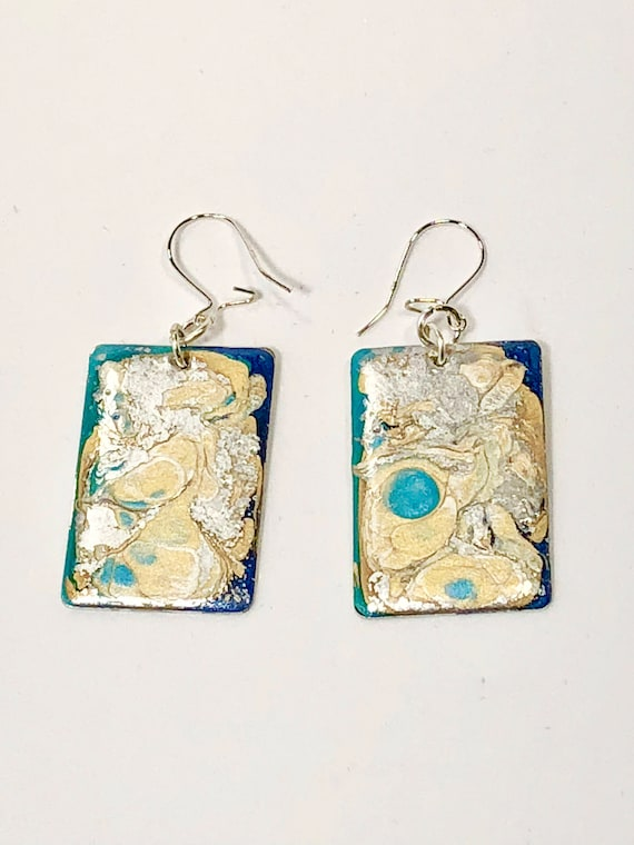 Handmade rectangular dark blue/turquoise/silver/gold enamel sterling silver earrings with abstract designs