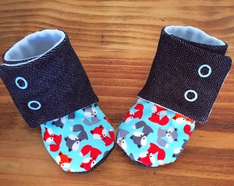 Denim fox booties for 0/3 month old