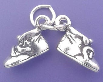 BABY SHOES Charm .925 Sterling Silver Movable Pendant - lp2070