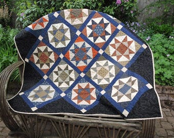 "Large Civil War Reproduction Quilt with Ohio Stars - Rust, Blue, Green, Cream and Black   62"" x 62"""