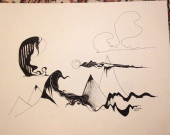 Mountain Scape Original Drawing