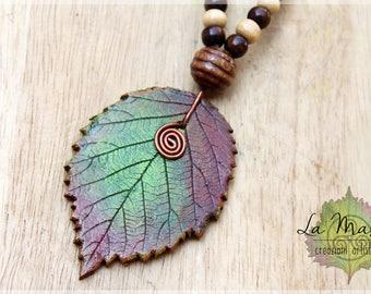 Leaf necklace // Red Green Rowan leaf // Real leaf Elves Fantasy necklace // Natural Handmade necklace