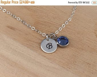 ON SALE Personalized Necklace Initial Birthstone Sterling Silver Charm Necklace Personalized Mother Jewelry with 1-2-3-4 Birthstone Gift for