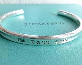 Authentic Tiffany & Co. 1837 Narrow Cuff Sterling Silver Cuff Bracelet