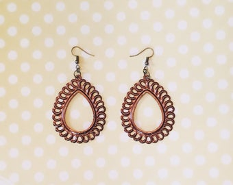 Copper Tear Drop Filigree Earrings