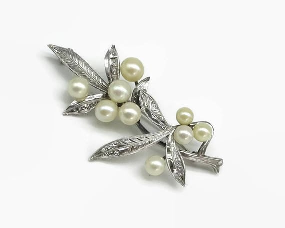 Large vintage sterling silver and cultured pearl brooch, leaves on branch with pearls as the flowers, bright cut engraving, mid 20th century