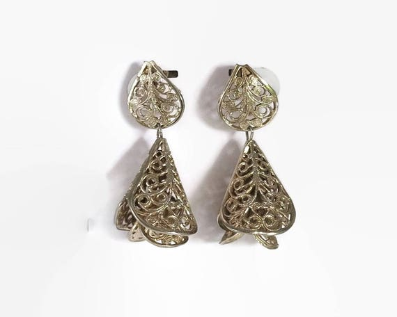 Vintage filigree earrings, dangling flowers with inner dangling flowers, pale gold tone metal, screw backs, mid 20th century