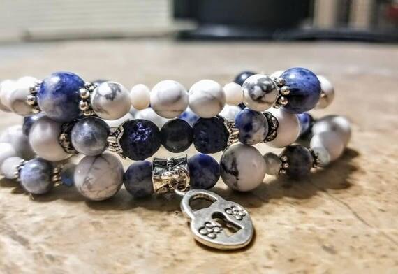 3 Strand Diffuser Power Bracelets - White Turquoise, Lapis and Lava rock. Yoga, meditation, chakra, mala, buddhist, reiki
