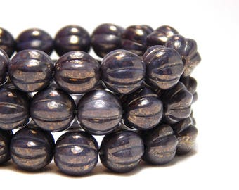 8mm Purple Melon Beads, Purple Fluted Beads,  Lavender Beads, 8mm Purple Beads, Purple Opaque Luster Beads, 8mm Melon Round Beads D-D27