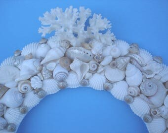White Seashell Wreath - Shell Wreath - Beach Decor - Wreath - Coastal Decor