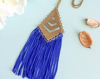 "Necklace ""Cadwallon"" electric blue and bronze color"