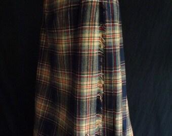Vintage kilt skirt tartan plaid genuine Scottish made by Scott of Aberdeen